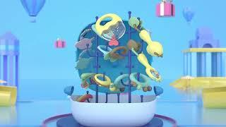 Bộ đồ chơi xúc xắc gặm nướu lục lạc cho bé cầm tay cho trẻ sơ sinh cao cấp có hộp đựng hình cá heo