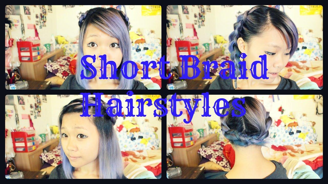4 Braided Hairstyles For Short Medium Length Hair Youtube