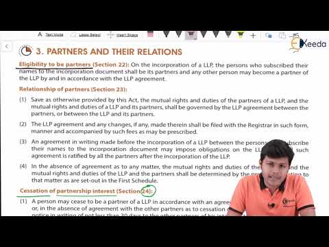 Partners Their Relations, Extent & Liability With LLP - The Limited Liability Partnership Act, 2008