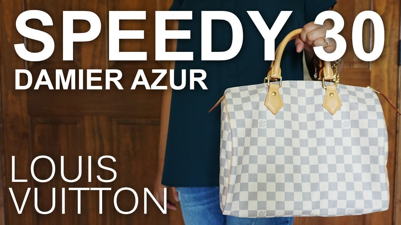 d69cfdfb37b7 Louis Vuitton Speedy 30 Damier Azur   Review   What s In My Bag   Modeling  Shots
