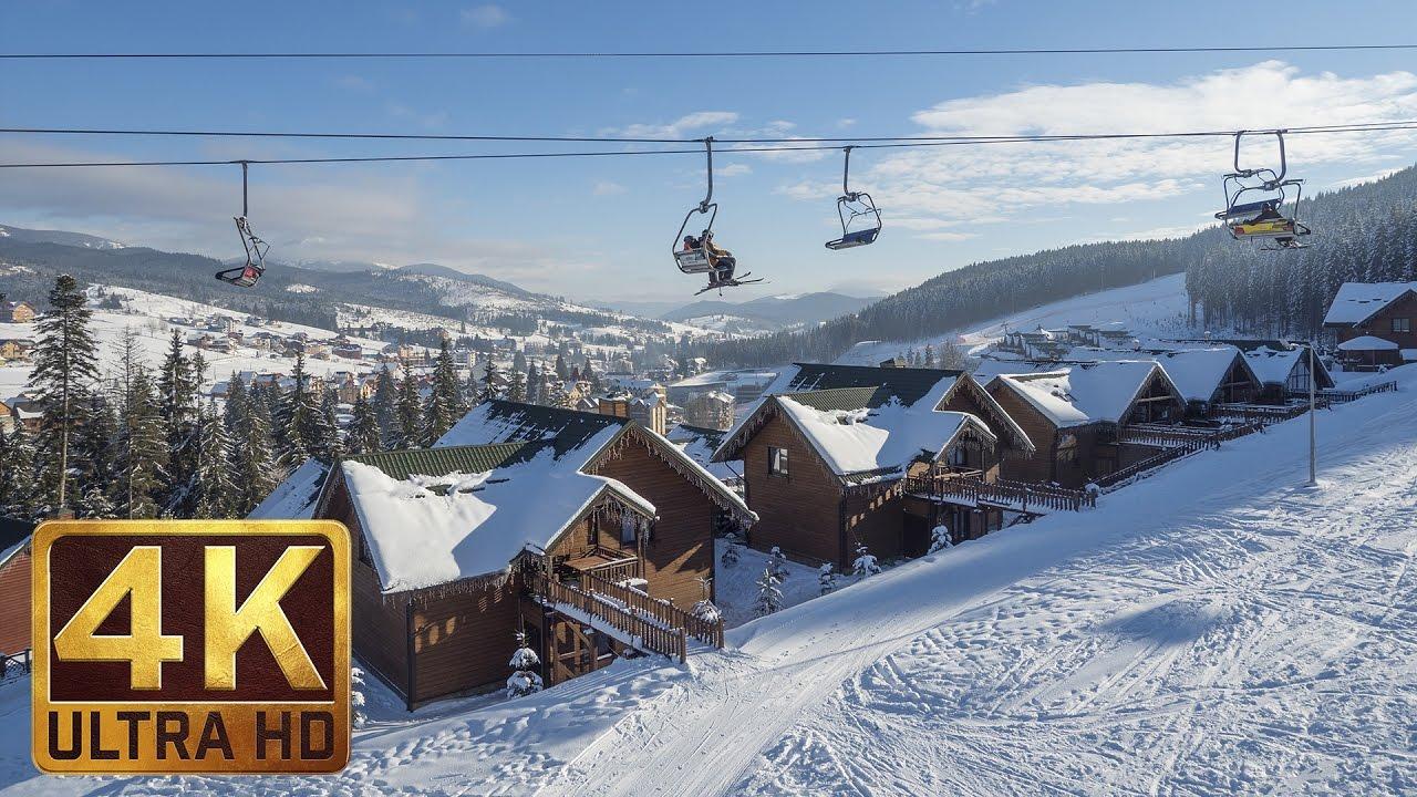 Downhill the Ukrainian Carpathians in 4K UHD - Clip