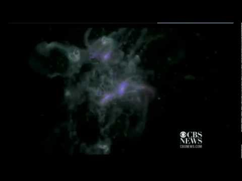 NASA space video simulation of big bang theory forming a disk galaxy 13.5 million years old