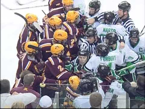 Scrum between North Dakota Fighting Sioux and the Gophers 1/14/2011
