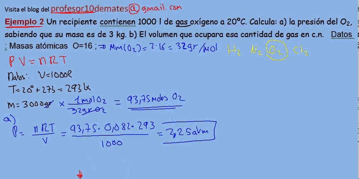 Ecuación de estado de los gases ideales ejercicio resuelto ...