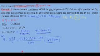 Ecuación de estado de los gases ideales ejercicio resuelto 2