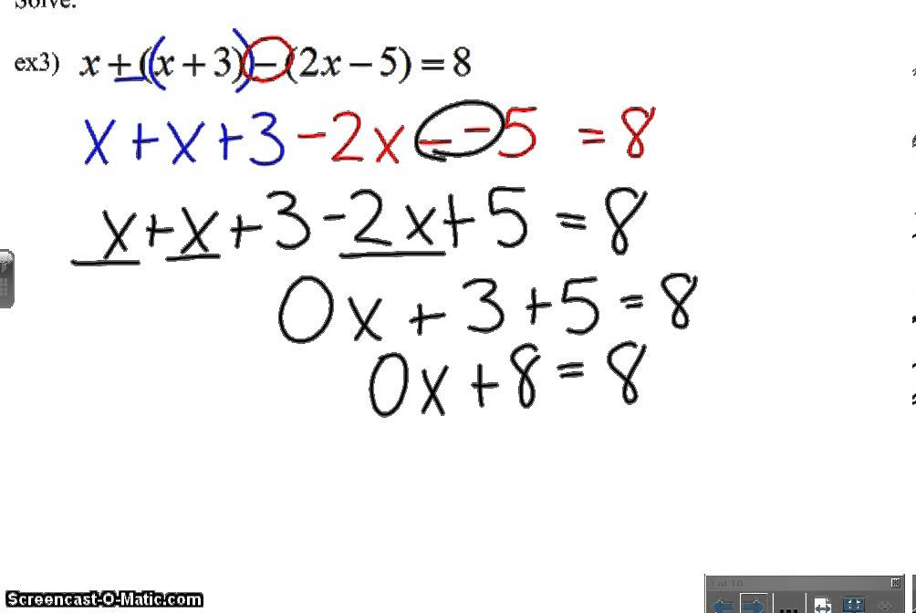 Solving Equations With Grouping Symbols Video Youtube