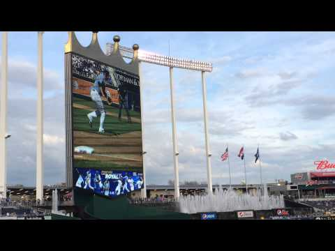 Billy Butler receiving his AL championship ring at Kauffman stadium 2015