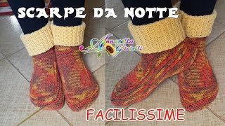 Repeat youtube video Scarpe da Notte SEMPLICISSIME all'Uncinetto SENZA diminuzioni | How to crochet socks