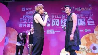 [120409] M.I.C.Aero&Steelo Cheek Kissing @Music Radio Get-Out-The-Vote Concert (FanCam)