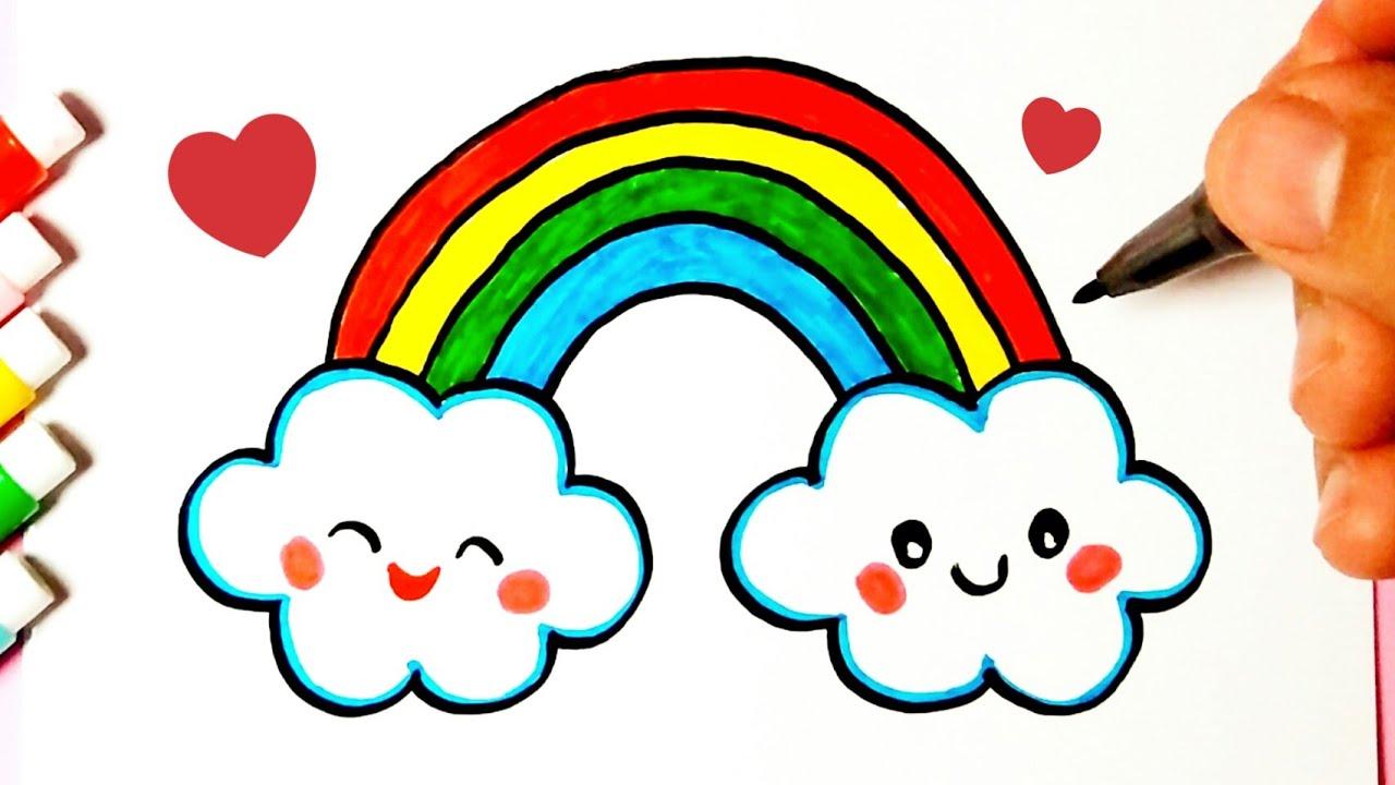 Como Desenhar Arco Iris Com Nuvens Fofas Desenhos Bonitos