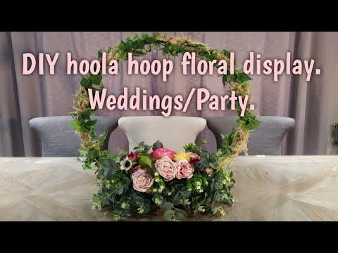 DIY hoola hoop floral display for a party or wedding.