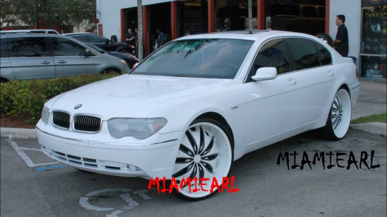 C2C CUSTOMS BMW 745 ON 26 KURVS ALL WHITE 954 327 1900