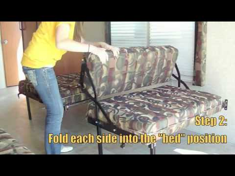 dune sofa faux leather sleeper hide away dinette / bed - toy hauler rv travel ...