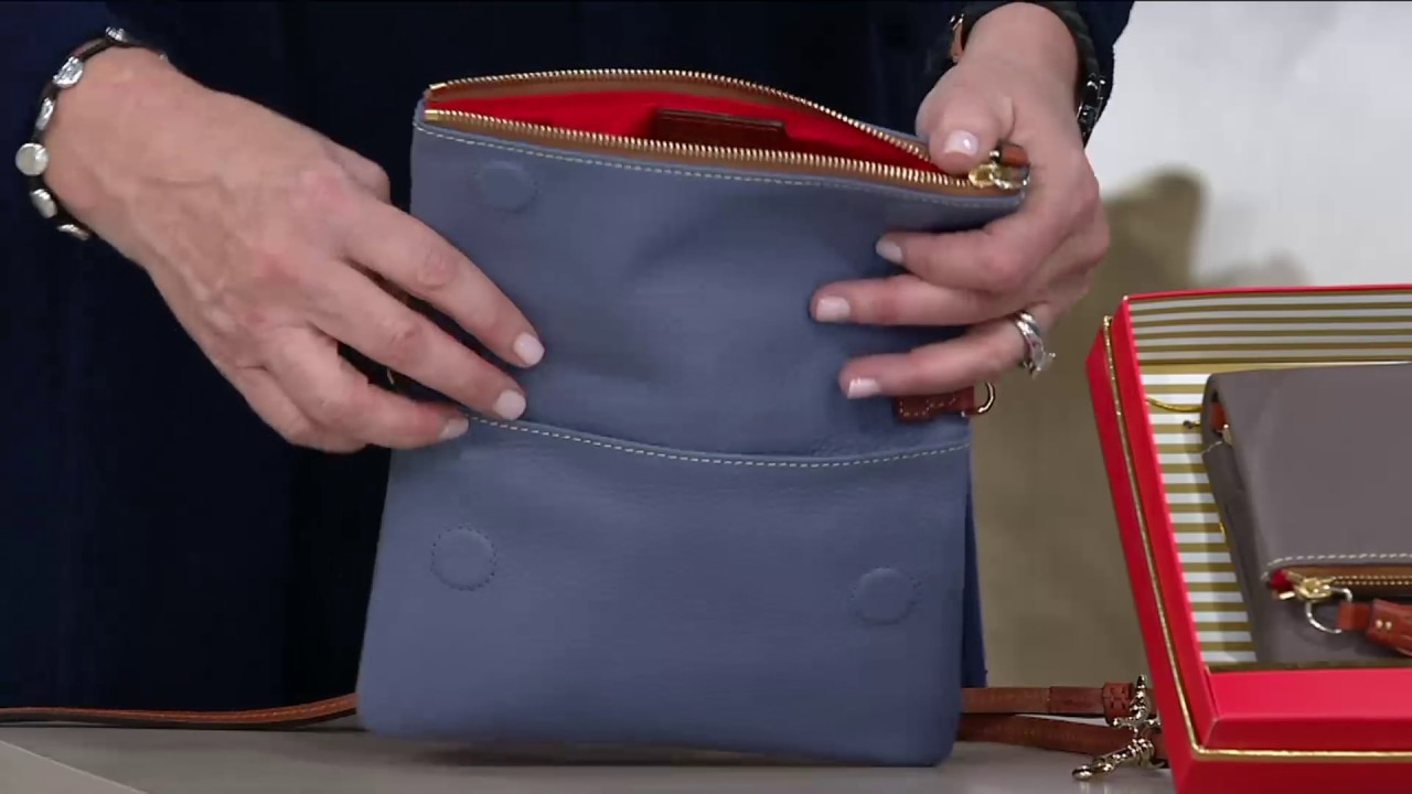 f2360df39c21 Dooney & Bourke Pebble Leather Foldover Zip Crossbody on QVC - YouTube