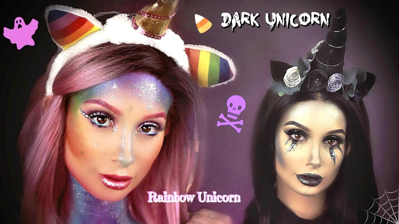 Rainbow + Dark Unicorn Halloween Makeup Tutorial | Nicol Concilio ...