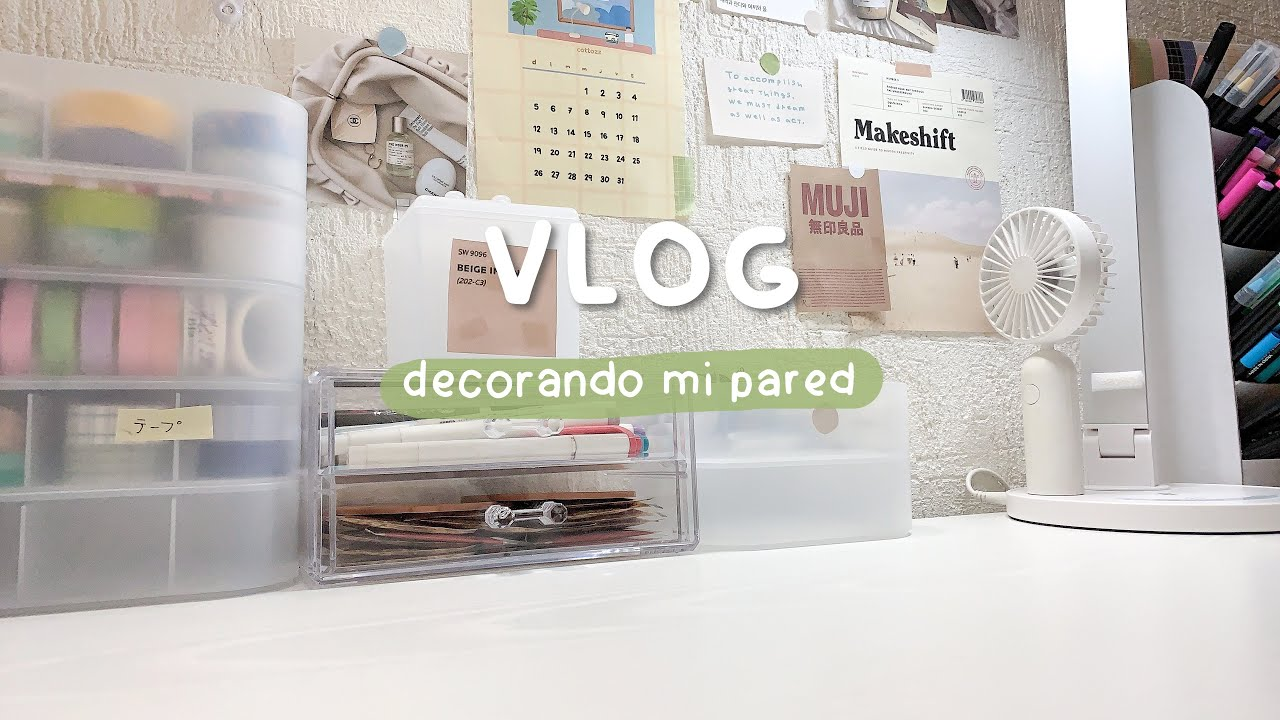 vlog : decorando la pared  de mi escritorio / bola de arroz