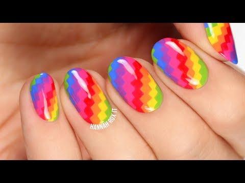 Pixelated Rainbow Nail Art