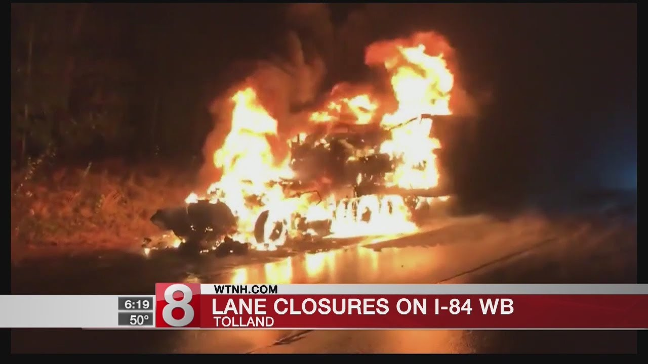 Multiple lanes closed as crews work to clear Tolland truck fire from I-84