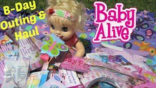 BABY ALIVE  haul + outing for learns to potty doll birthday