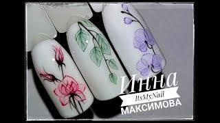 🌸НЕЖНЫЙ дизайн ногтей🌸ФЛОРИСТИКА🌸ПОЛУПРОЗРАЧНЫЕ листья, цветы на ногтях🌸Дизайн ногтей гель лаком🌸