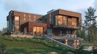 Проект дома в стиле Лофт. Дом с гаражом, террасами и панорамными окнами. Ремстройсервис М-394