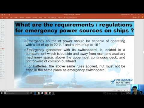 Integrated Maritime Episode 2 - Emergency Generators