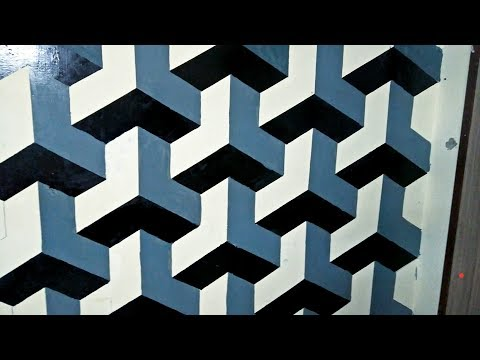 How to paint ''ALMOST PERFECT''cubic pattren on wall 3D by creat your own