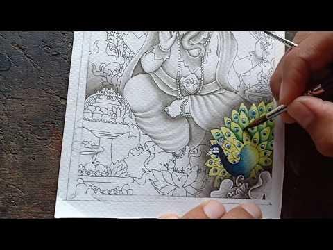 Cara Mewarnai Burung Merak Lukisan Tradisional Bali Gaya Keliki