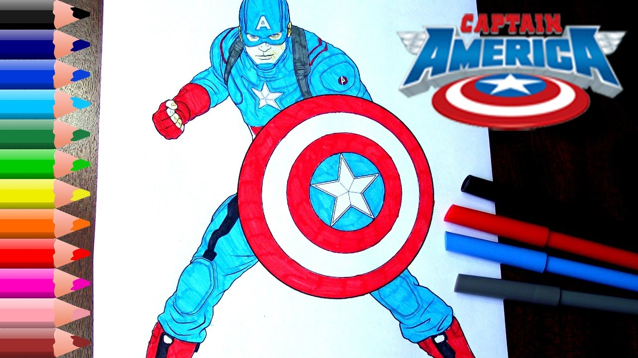 Captain America Coloring Pages for kids // How to Color Captain ...