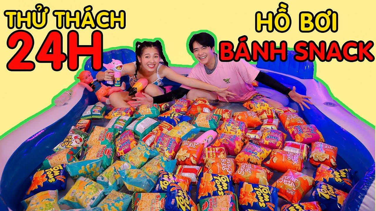 Thử Thách 24h trong Hồ Bơi với bánh Snack Thắng 5 Triệu | Couple K Challenge| Khánh Vũ ft Nhi Katy