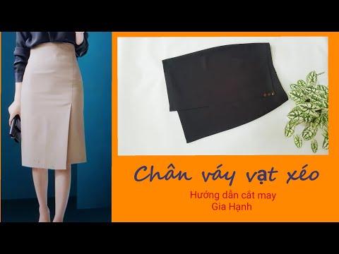 Chân váy vạt xéo/Cách sử lý phôm khi gặp mẫu váy không có pen thân trước/Hướng dẫn cắt may Gia Hạnh