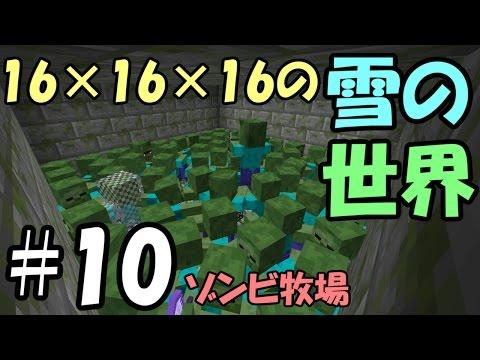 【マインクラフト】#10 16×16×16の雪の世界 ~ゾンビ牧場~【日刊マイクラS2 #34】 - YouTube