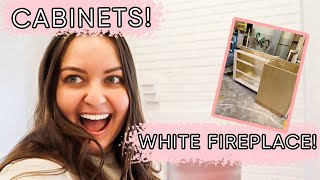 Sneak peek of our kitchen cabinets plus our fireplace is painted! | ELA BOBAK
