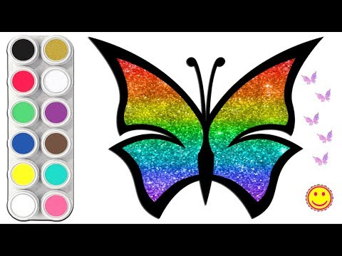 🦋Glitter Rainbow Butterfly Coloring Pages