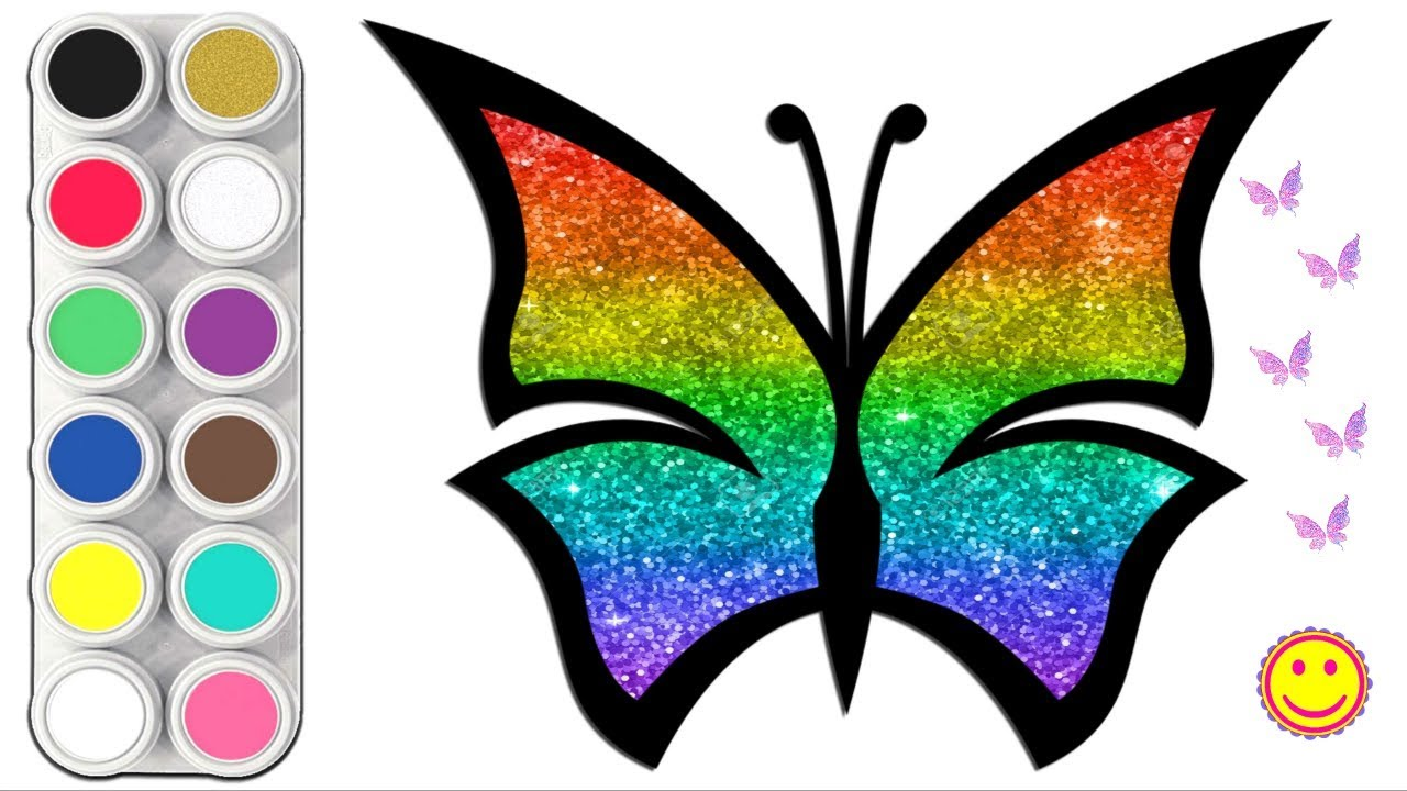 🦋Glitter Rainbow Butterfly Coloring Pages - How to Draw a Butterfly for kids