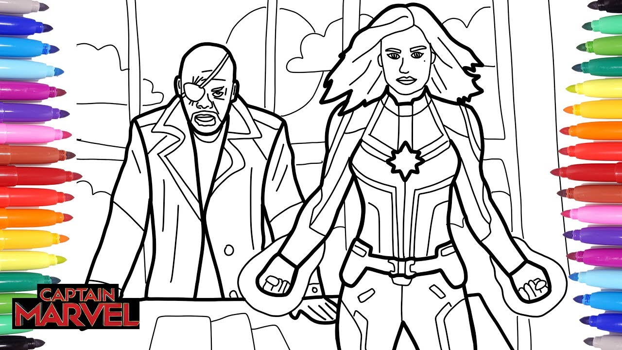 Captain Marvel Coloring Pages How To Draw Captain Marvel And Nick Fury Captain Marvel Superheroe Youtube