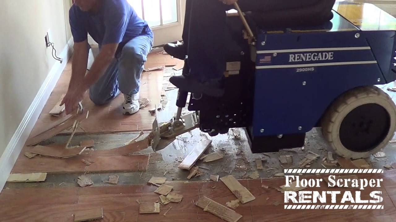 Hardwood Floor Removal With A Renegade Rider Floor Scraper Rentals - Bronco floor scraper rental