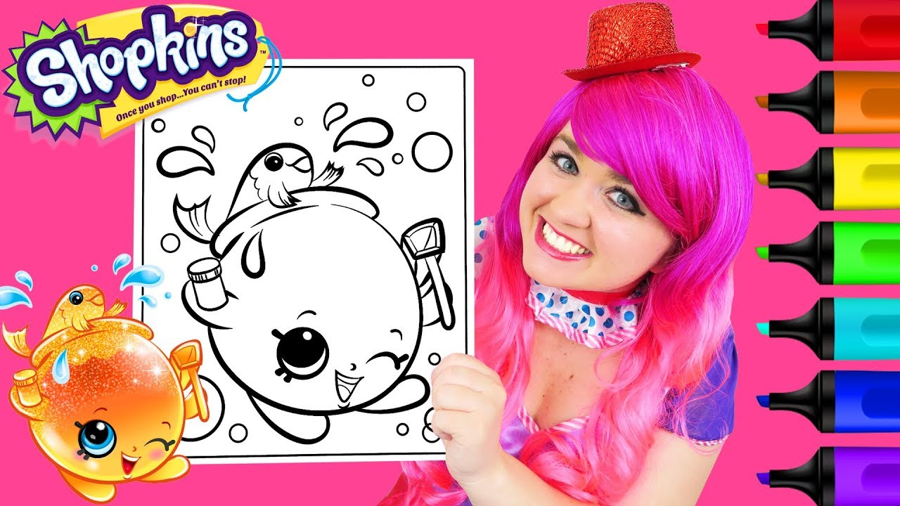Coloring Shopkins Goldie Fish Bowl Glitter Coloring Page