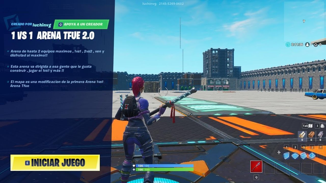 MAPA 1VS1 FORTNITE- MAPA TFUE 2 0 -Code:luchinvg - Map Code: 2145-5269-0602