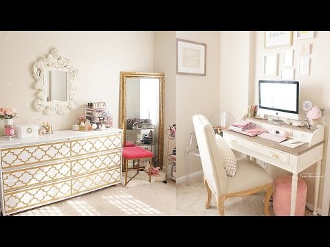 Beauty Room Amp Office Room Tour Pink White Amp Gold Shabby