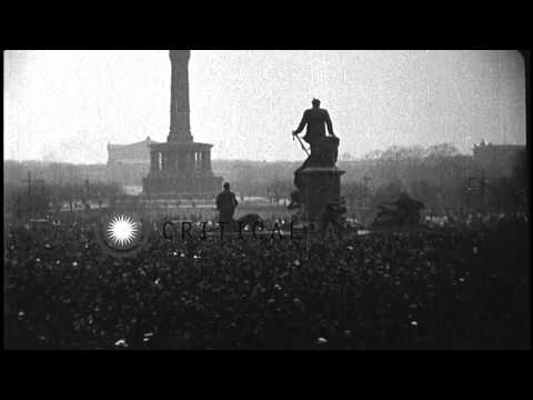 A large number of people gather outside the Reichstag building in Berlin, Germany...HD Stock Footage