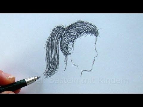 zeichnen lernen haare zeichnen im profil mit bleistift frisur malen youtube. Black Bedroom Furniture Sets. Home Design Ideas
