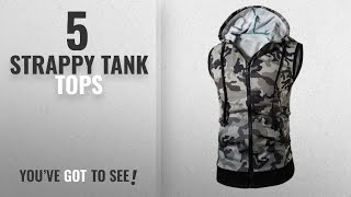 Top 10 Strappy Tank Tops [Winter 2018 ]: Anshinto Camouflage Men Hoodie Vest Sleeveless T-shirt Tee