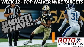2018 Fantasy Football Lineup Advice - Week 12 Waiver Wire Players To Target