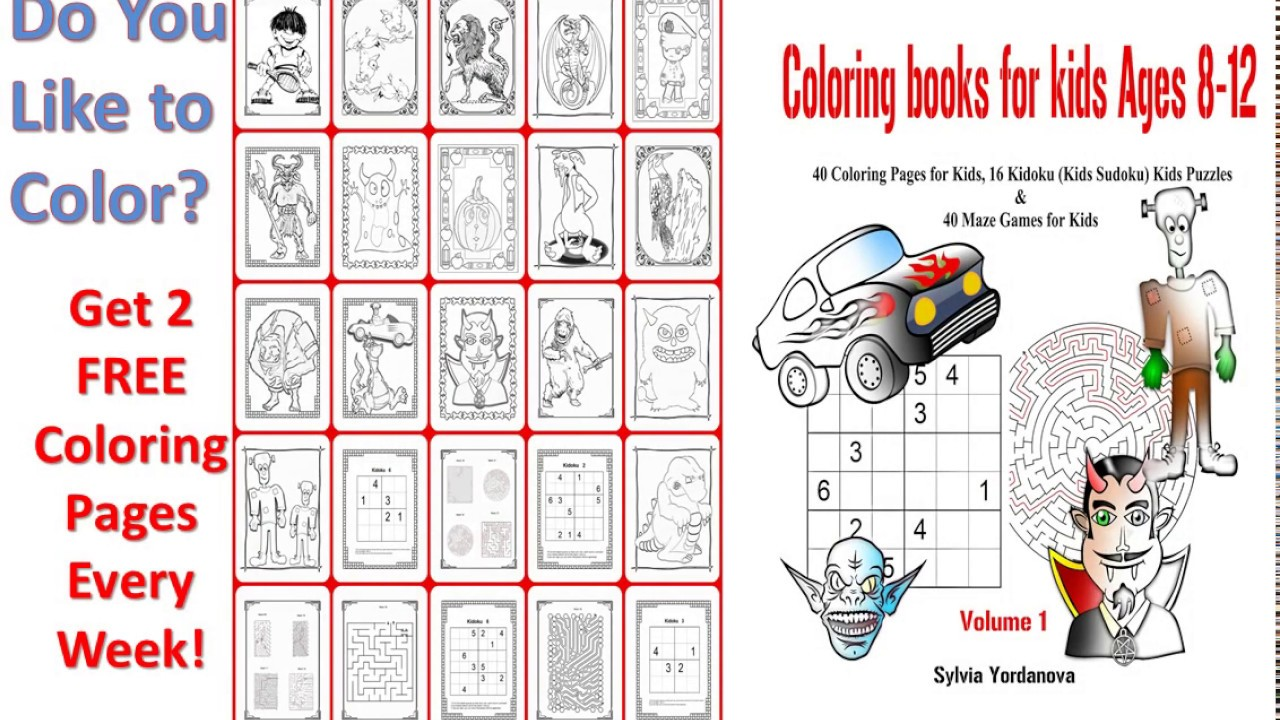 Flip through coloring book for kids ages 8 12 kids activity book kidoku puzzles mazes