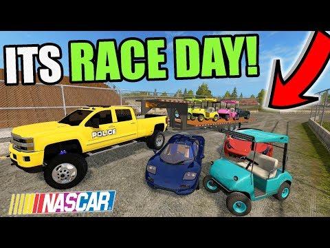FARMING SIMULATOR 2017   MCLAREN, FERRARI & NEW GOLF CART RACING WITH 8 PEOPLE!   RACE DAY!