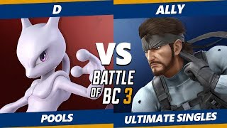 Smash Ultimate Tournament - D (Mewtwo) Vs. Ally (Snake) BoBC3 SSBU Pools