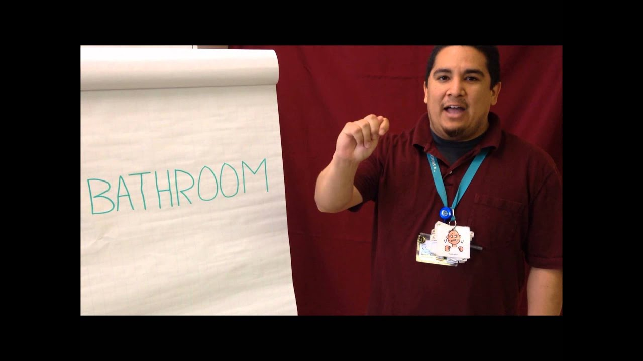 Bathroom sign language youtube for Bathroom in sign language