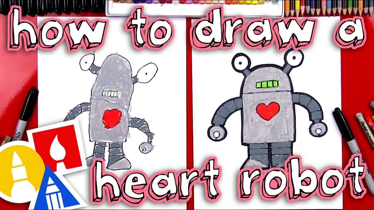 How To Draw A Valentine S Robot Youtube