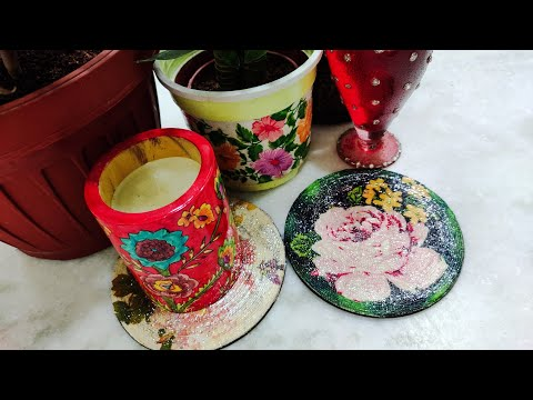 Decoupage coasters with paper napkins